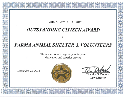 See the Outstanding Citizen Award Presented to the Parma Animal Shelter