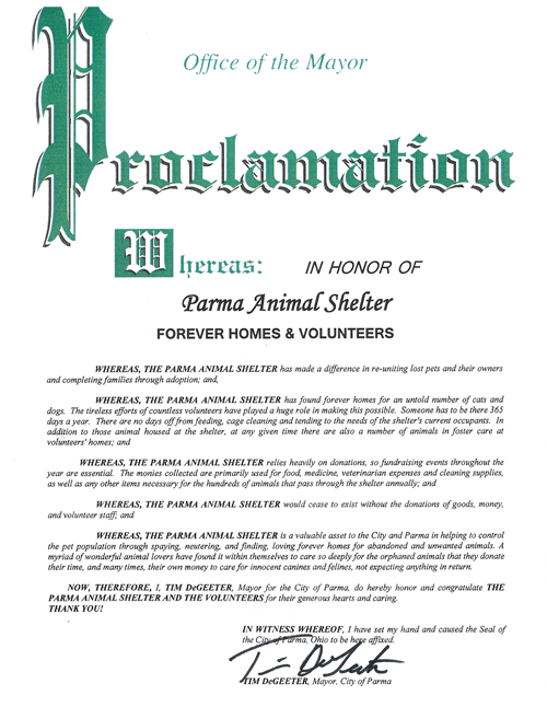 Read the Proclamation Given to the Parma Animal Shelter by Parma Mayor Tim DeGeeter