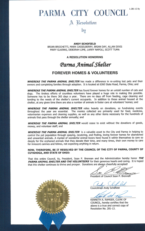 Read the Resolution Given to the Parma Animal Shelter from the City of Parma