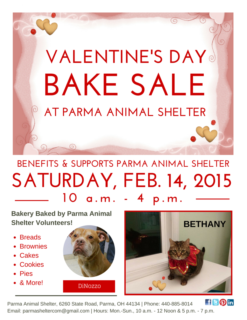 valentine s day bake sale parma animal shelter