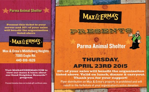Dine and Donate at Max & Erma's to Support the Parma Animal Shelter