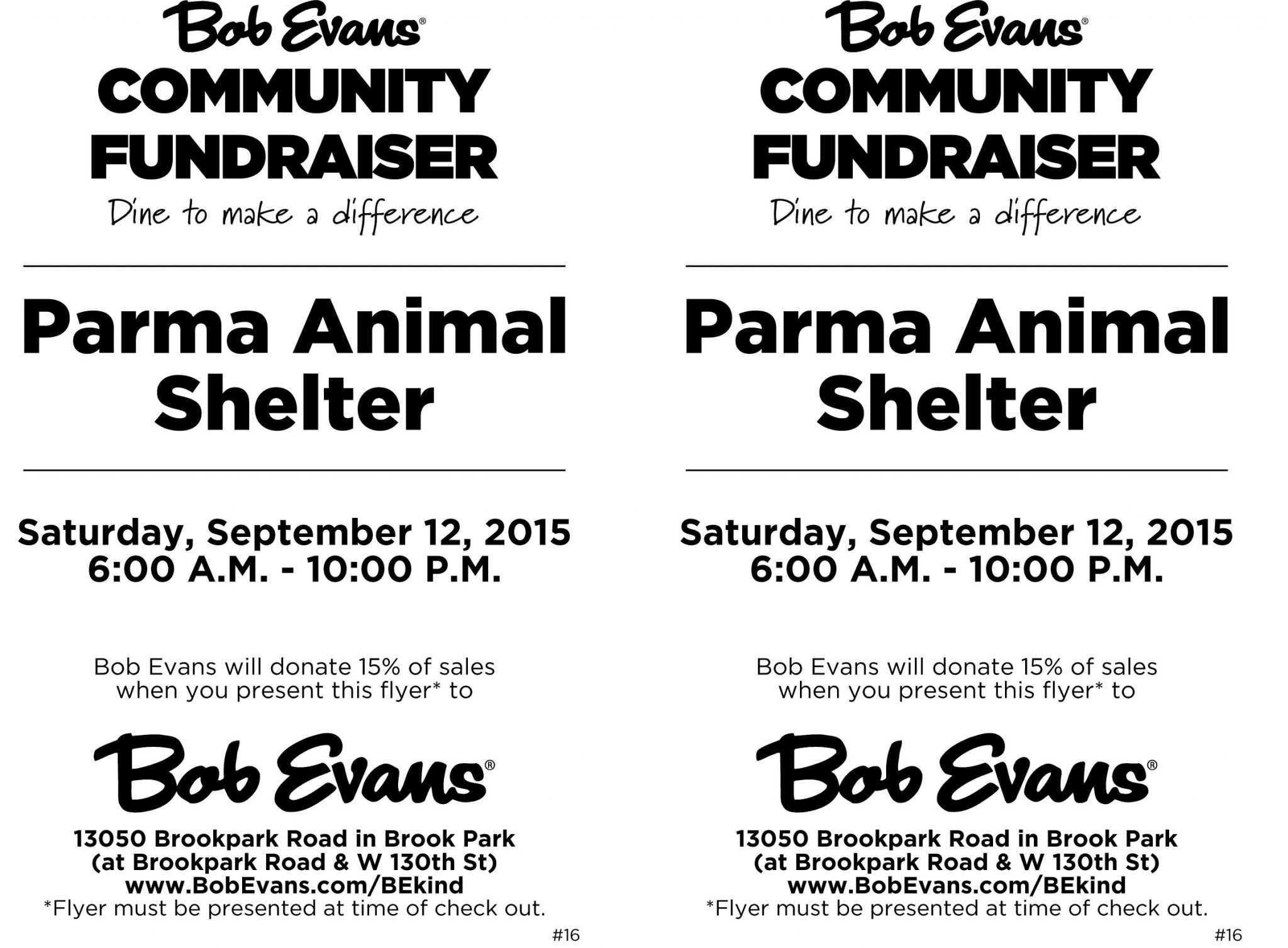 Join the Parma Animal Shelter for a Dine to Donate at Bob Evans